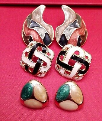 lotto orecchini vintage smalto con foro anni 70 - enamel retro  earrings lot