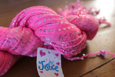 NEW with tags JUSTICE bright pink wrap scarf with sequins and fringe