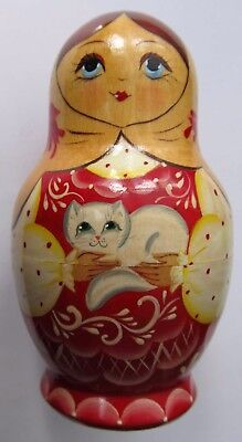 Five nesting Russian doll set Kokopeba, made in Russia 1994, woman with cat