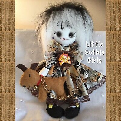 """Dana the 8"""" Gothic hand made rag doll by Little Gothic Girls"""
