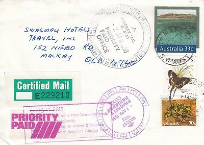 L 2318 Certified Priority Paid  $1.70 uprated 33c PSE Mascot NSW to Mackay Qld +