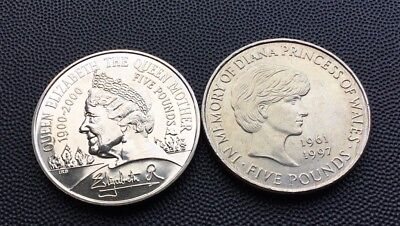 1999 & 2000 UK £5 coins