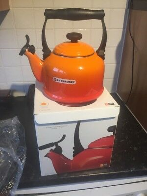 Le Creuset traditional stove top Whistling Kettle 2.1l volcanic orange.