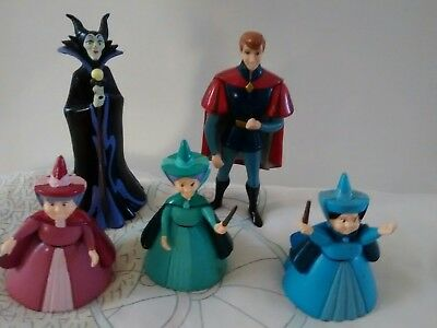 disney  figures    2 fairy God Mothers, maleficent and  Prince  cake toppers