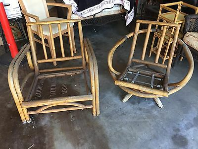 Set of 2 Vintage Bamboo Rattan Indoor Outdoor Chairs 1 Swivel and 1 not p/u L.A.