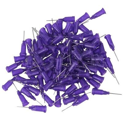 "100xDispensing  1/2"""" 21Ga Stainless Steel Blunt Needle Purple"