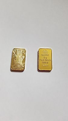 x2 Gold Clad&Plated Bars Ancient Wonder Antique Commemorative Old Culture bars,