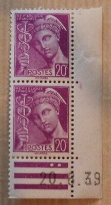 Timbres France Coins Dates Mercure 20C 410X4 Neufs 1939