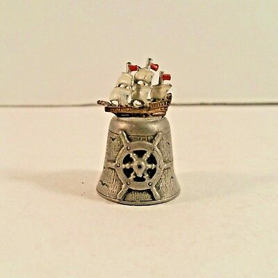 Pewter Thimble Painted Nautical Ship with Anchor and Wheel Vintage