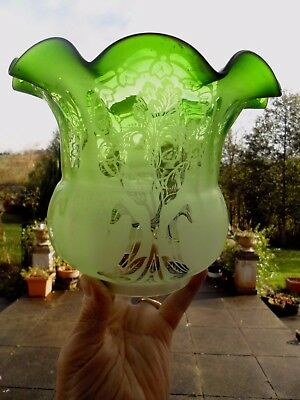 Antique Victorian Quality Etch Emerald Green  Duplex Oil Lamp Shade.