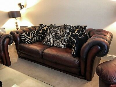 Leather Brown/Oxblood Chesterfield Sofa and Armchair