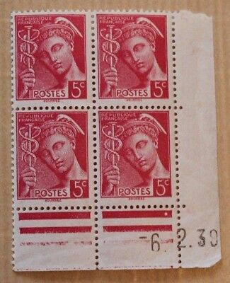 Timbres France Coins Dates 5C Mercure X4 Neufs 1939