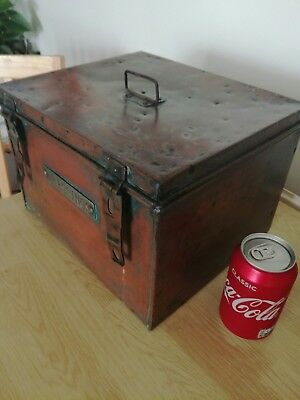 """Rare WW1 Copper and Tin medics Box labelled """"DRESSINGS"""" great Patina Large !!!"""