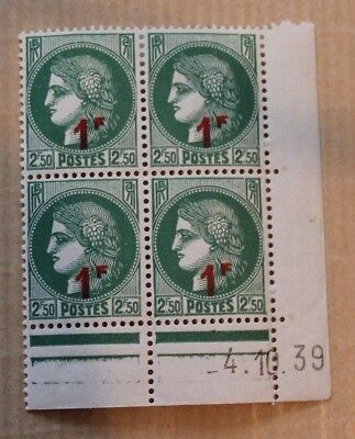Timbres France Coins 2F50 Dates Ceres X4 Neufs 1939