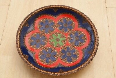 A Vintage Retro Ethnic Turned Hardwood Bowl With Carving And Blue Red Finish