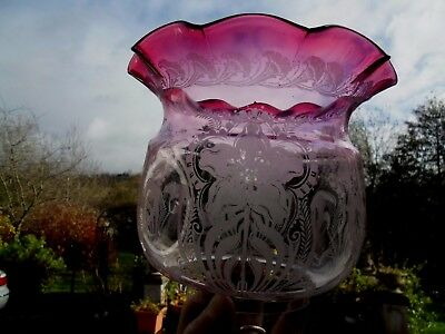 Antique Edwardian Quality Etch Ruby Duplex Oil Lamp Shade.