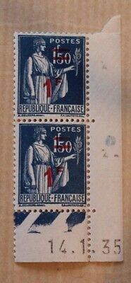 Timbres France Coins Dates 1F50 Paix 286 X2 Neufs 1935