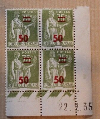 Timbres France Coins Dates 75C Paix 284 X4 Neufs 1935