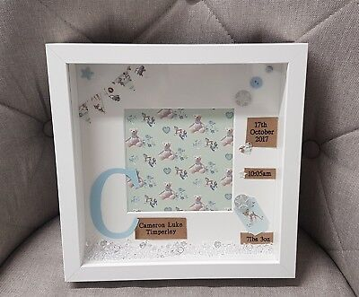 Personalised handmade box picture frame new baby christening gift present