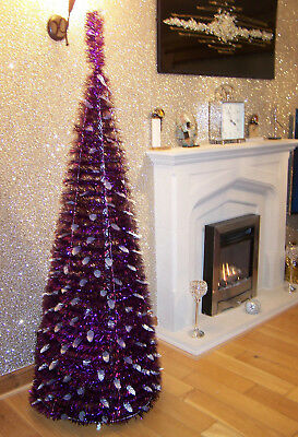 Luxury 6ft Cadburys Purple & Silver Holly Pop Up Christmas Tree Easy Assembly **