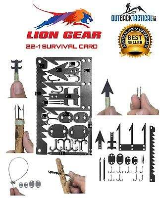 EDC 22-1 WILDERNESS SURVIVAL Fishing Hunting CARD Credit Card Size Tool Set