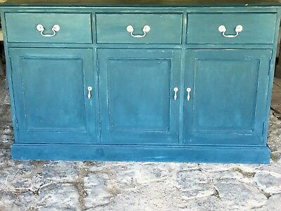 Lovely old pine sideboard, hand-painted in Annie Sloan Aubusson and wax finished