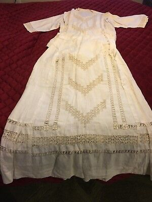 Antique 1900s Linen Suit-Skirt Blouse-Drawn Thread Embroidery Original Stays