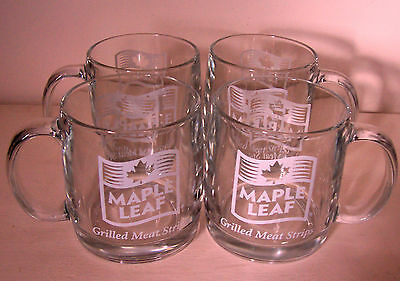 Lot Of 4 Vintage Clear Glass Advertising Coffee Mugs - Maple Leaf Meats