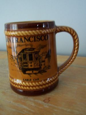 Vintage Souvenir Of San Francisco Small Stein -Chinatown, Cable Car, Golden Gate