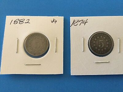 1874 and 1882 Shield Nickels