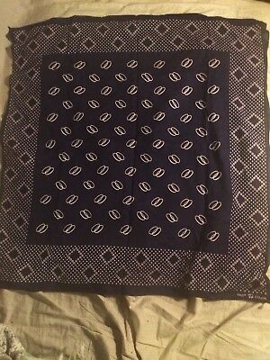 """Vintage Fast Color Trunk Down Blue & White Bandanna Extra Large, 26"""" X 25"""""""