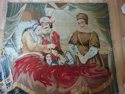 """Antique Tapestry worked in silk. Hand stitched Real collectors piece. 22"""" x 28"""""""