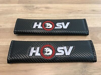 1Pair Seat Belt Cover Pads Carbon Logo Gift Holden HSV Z SS VF UTE GT Maloo