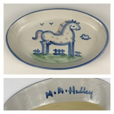 "M.A. Hadley Blue Horse 14"" Oval Serving Platter Country Scene Pottery Dish Pony"