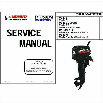 Mercury Mariner 6 8 9.9 10 15 Two-Stroke Outboard Motor Service Repair Manual CD