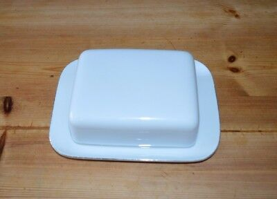 Thomas Porcelain/China Butter Dish White with Platinum band