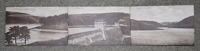 Open up 3 view vintage postcard Derwent Reservoir Dam & Waterworks
