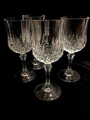 Large Diamond Crystal Cut Wine Glass Or Water Goblet - set of 4