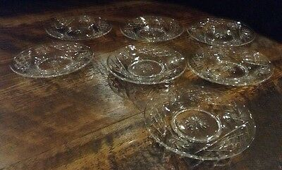 7 Pinwheel Crystal Bread and Butter Saucer Plate Dishes