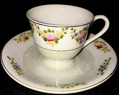 Vintage Made in Occupied Japan Mini Cup and Saucer Set Pink and Blue Flowers