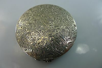 Antique Silver Engraved Decorated Hinged Lid Pill / Snuff Box