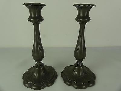 (REF165CO) Antique Pewter Candlesticks