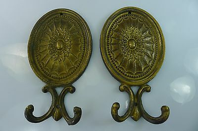 RARE OLD PAIR OF 14.9 cm. HIGH SOLID BRASS CLOTH / CLOTHES DECORATIVE HANGERS