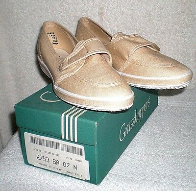 NIB new Grasshoppers women's casual canvas velcro loafers 7 7N  shoes tan beige