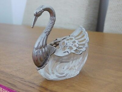 Vintage Swan Salt/Pepper Cellar Glass And Silverplate