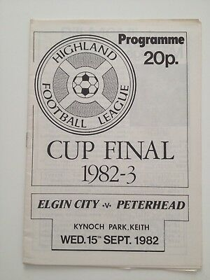 Elgin City FC V Peterhead Football Programme 15/09/1982 Highland Cup Final