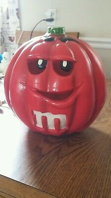 Mars M&M Collectible Foam Jack O Lantern Pumpkin Lighted Red 1998 Trendmasters