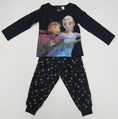 Girls Disney Frozen Pyjamas Elsa Anna Navy Blue pj's Night Wear Kids toddler