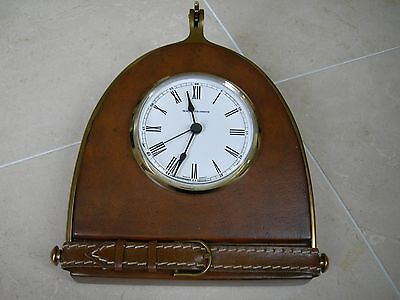 Maitland Smith Portsmouth Leather Table Top Clock with Classic Brass Accents