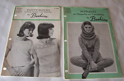 Lot Of 2 Vintage Beehive Women's Sweater Knitting Patterns - 25 Cents
